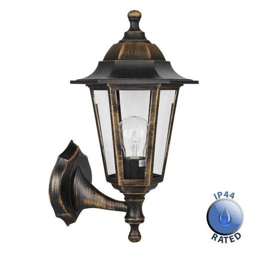 Mayfair IP44 Black Golden Outdoor UpDown Wall Lantern Pol