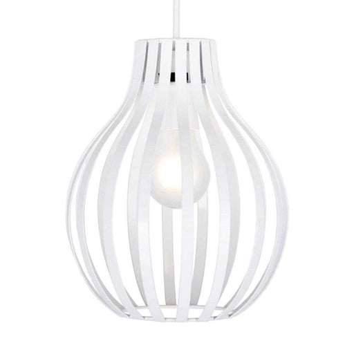 Alloa Non Electric White Painted Basket Pendant Shade
