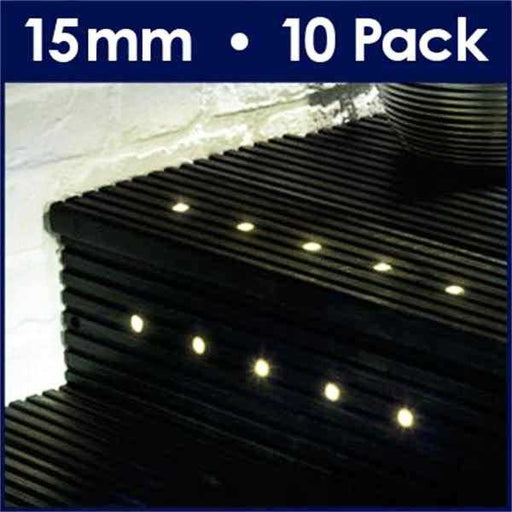 Pack Of 10 15mm Warm White LED Decking Lights