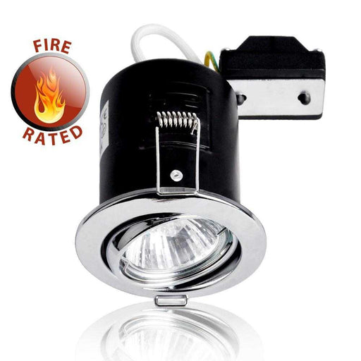 Fire Rated Tiltable GU10 Downlight Chrome NO BULB