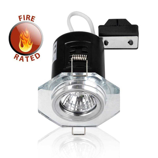 Fire Rated Hexagon GU10 Downlight Chrome NO BULB Clear Glass
