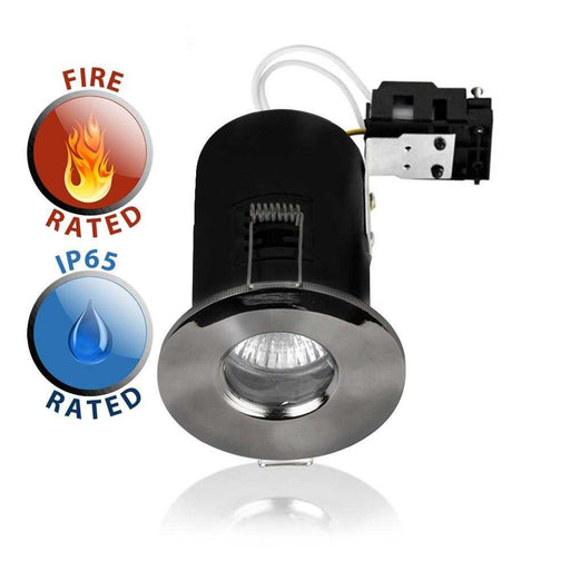 Fire Rated IP65 GU10 Downlight Black Chrome Domed Bezel NO B