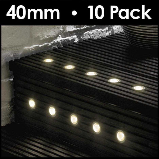 Pack Of 10 40mm Warm White LED Decking Lights