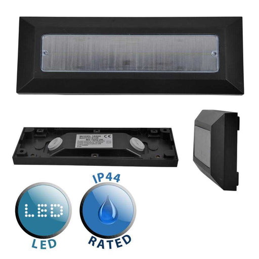 Lincoln IP44 LED Flush Mounted Brick Light BLACK