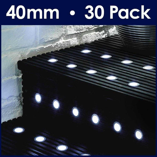 MiniSun Pack Of 30 40mm White LED Decking Lights