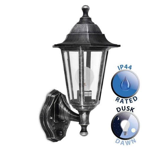 Mayfair IP44 Black Silver Outdoor Wall Lantern With Dusk T
