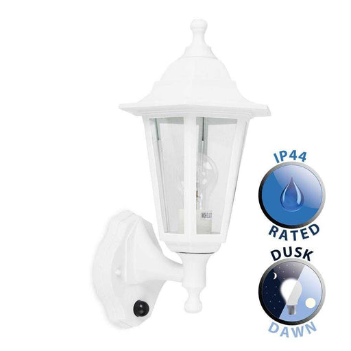 Mayfair IP44 White Outdoor Wall Lantern With Dusk To Dawn Se