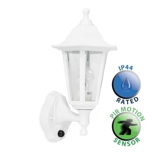 Mayfair IP44 White Outdoor Wall Lantern With PIR Sensor