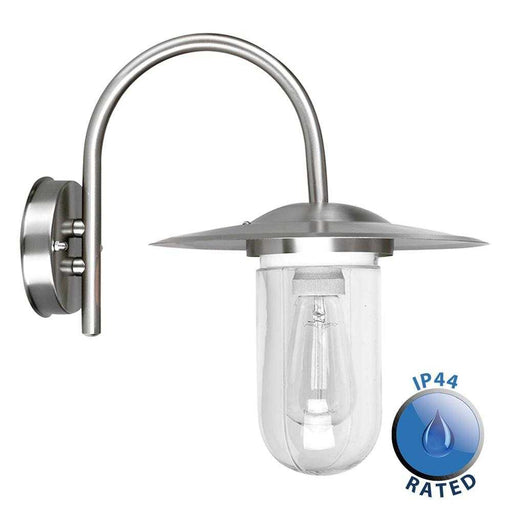 Lancaster 60W IP44 Stainless Steel Swan Neck Wall Lantern