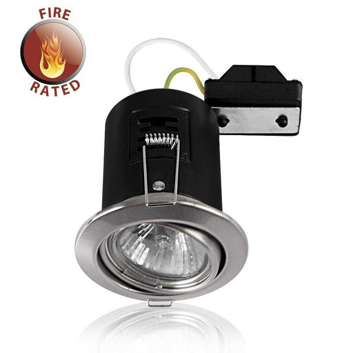 Fire Rated Tiltable GU10 Downlight Satin Nickel NO BULB