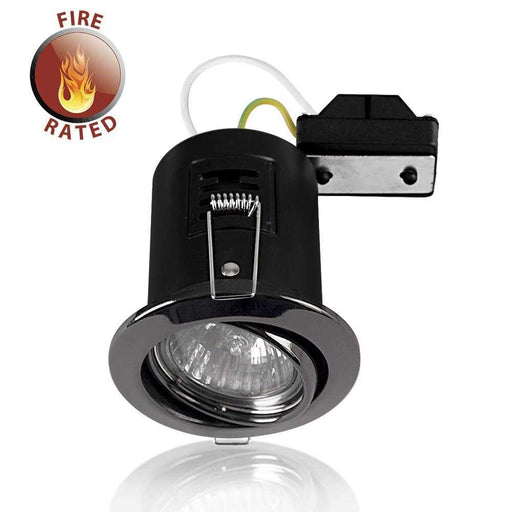 Fire Rated Tiltable GU10 Downlight Black Chrome NO BULB