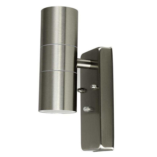 Stainless Steel Dusk Till Dawn UpDown Wall Light GU10 IP44