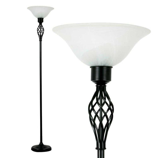 Memphis Twist Satin Black Uplighter Floor Lamp