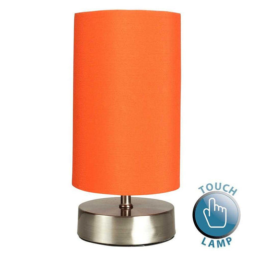 Francis Satin Nickel Touch Table Lamp With Orange Shade