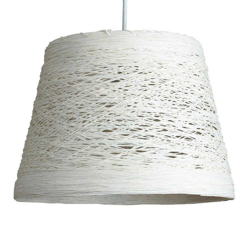 Jaap Non Electric Rattan  Twine Tapered Drum Pendant White