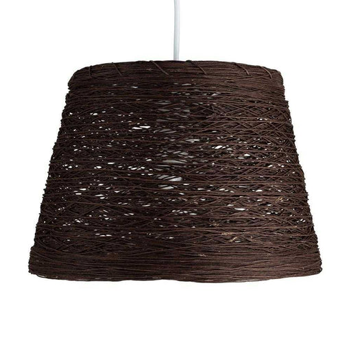 Jaap Non Electric Rattan  Twine Tapered Drum Pendant Brown