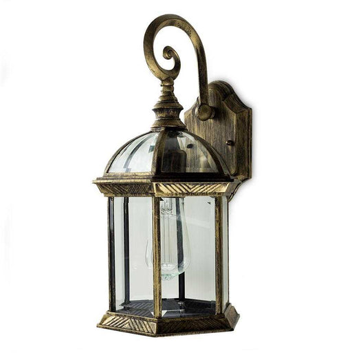 Headingly IP23 Black Golden Outdoor Wall Lantern