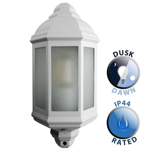 IP44 Wiltshire Outdoor Wall Dusk Dawn Lantern Aluminium WHIT