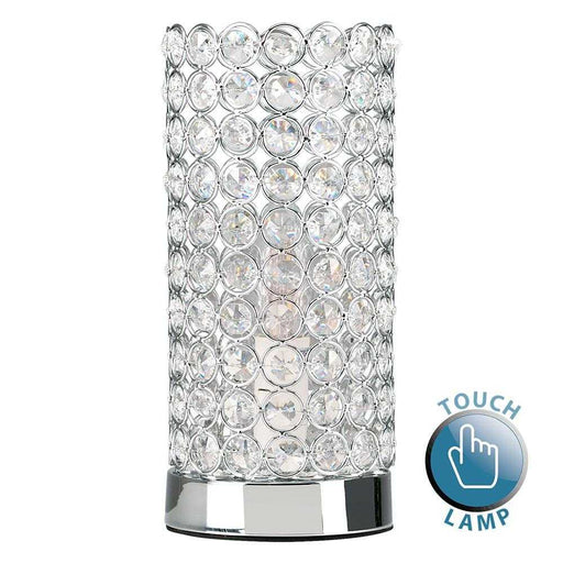 Ducy Chrome K9 Cylinder Touch Table Lamp