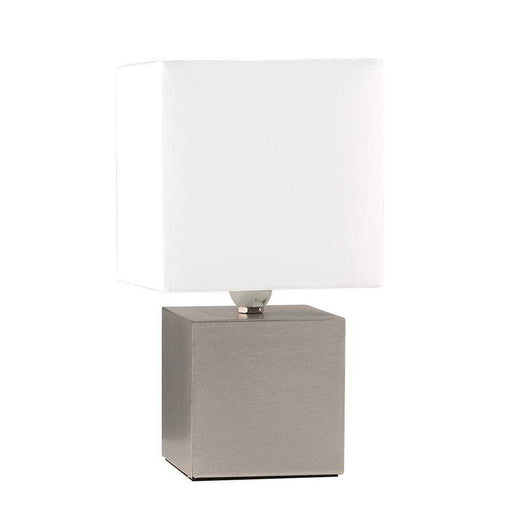 Cubbie Satin Nickel Touch Table Lamp Cube Base White Shade