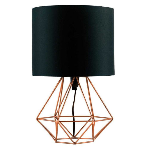 Angus Geometric Brushed Copper Base Table Lamp Black Shade