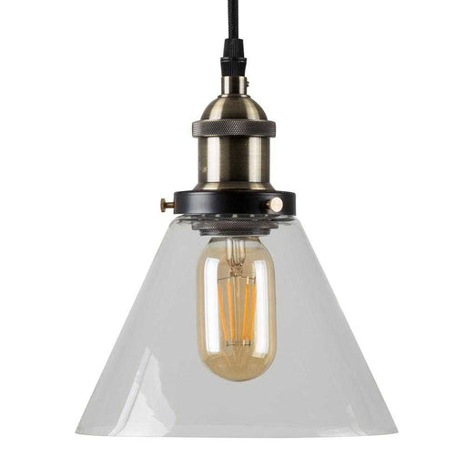 Norton Steampunk Electric Pendant Clear Glass Shade