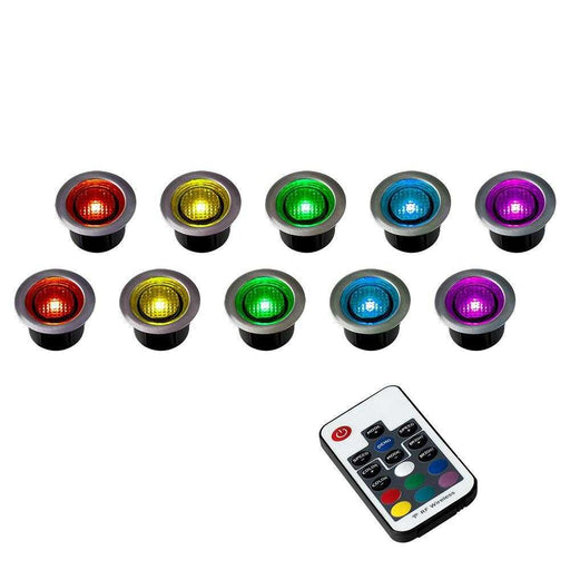 MiniSun Pack Of 10 40mm Remote Control RGB LED Decking Light
