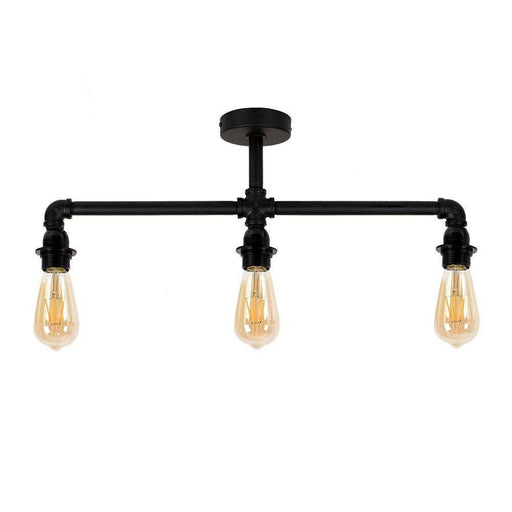 Luiggi Matt Black Steampunk 3 Way Bar Ceiling Light (NO SHA