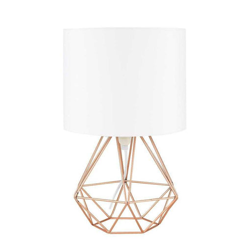 Angus Geometric Brushed Copper Base Table Lamp White Shade