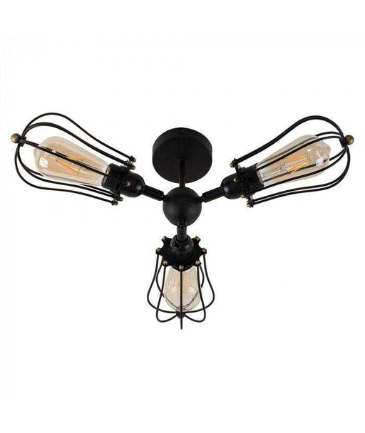 Irwin Steampunk 3 Way Satin Black Ceiling Light Pear Cages