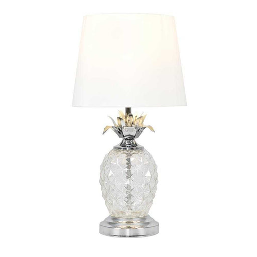 Clear Glass / Chrome Pineapple Touch Table Lamp Off White Sh