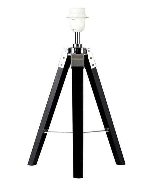 Clipper Black Wood / Chrome Tripod Table Lamp Base Only