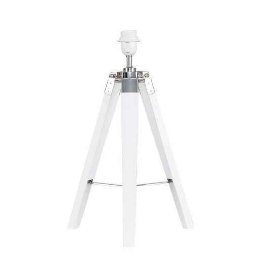 Clipper White Wood / Chrome Tripod Table Lamp Base Only