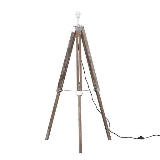 Clipper Light Wood / Chrome Tripod Floor Lamp Base Only