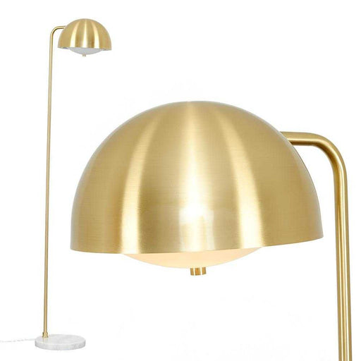 Eddie Satin Brass Floor Lamp White Marble Base