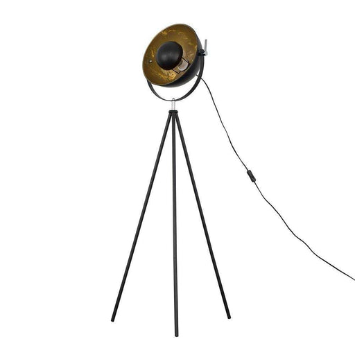 Morpho Tripod Floor Lamp Black with Gold Inner Shade