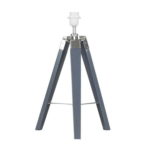Clipper Grey / Chrome Tripod Table Lamp Base Only