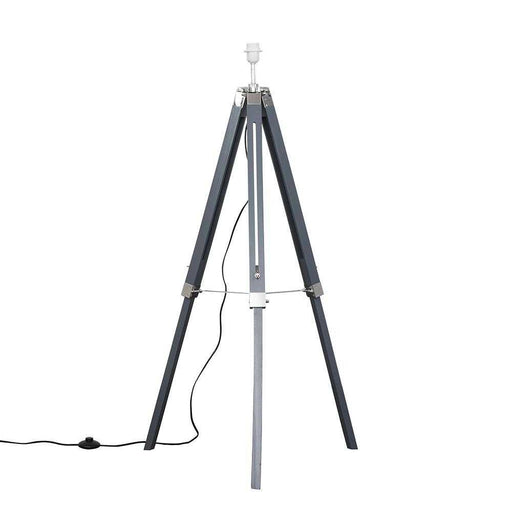 Clipper Grey / Chrome Tripod Floor Lamp Base Only