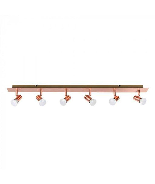 Consul Copper 6 Way Plate Spotlight Bar