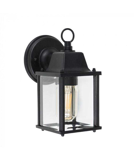 Allgreave IP23 Black and Glass Outdoor Wall Light