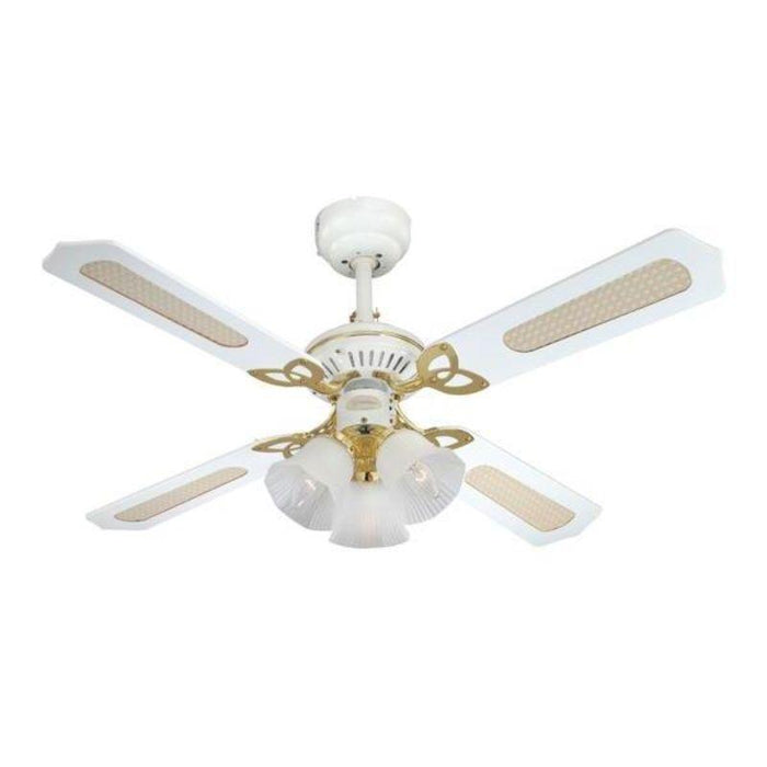 105 cm Princess Trio, White and Polished Brass, 4 Reversible Blades