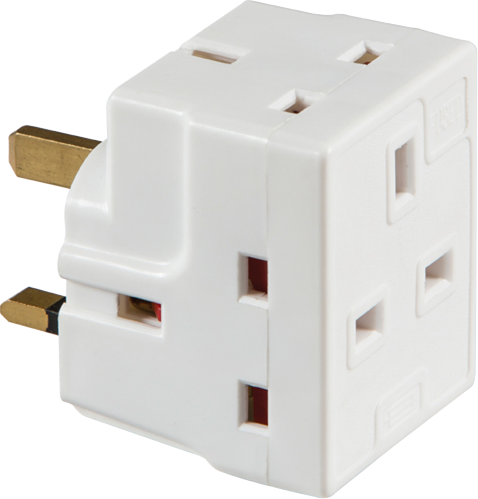 13A 3-Way Mains Fused Adaptor