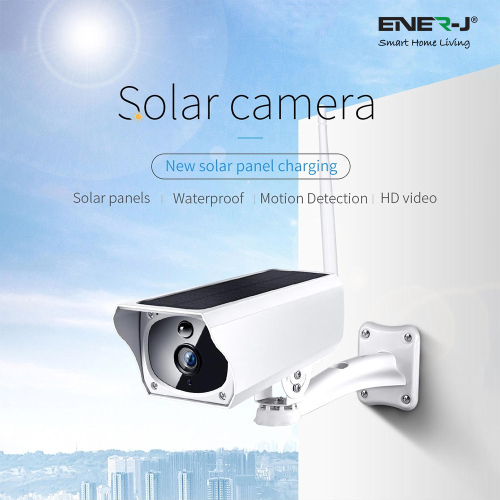 ENER-J Outdoor Wireless WiFi IP Camera With Inbuilt Battery & Solar Panel For Charging | West Midland Electrics