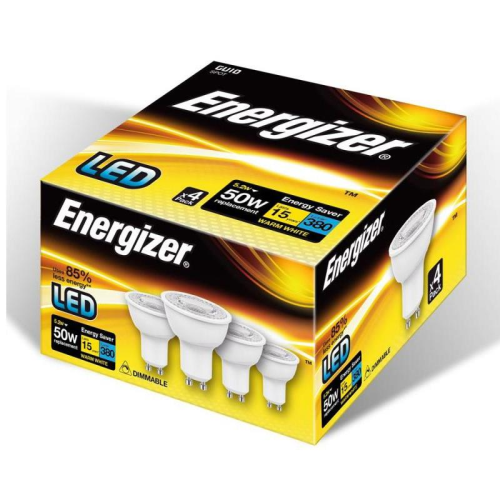 Energizer GU10 Pack of 4 LED Dimmable Warm White | West Midland Electrics