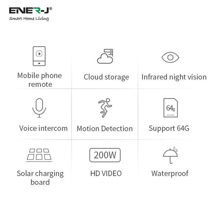 ENER-J Outdoor Wireless WiFi IP Camera With Inbuilt Battery & Solar Panel For Charging