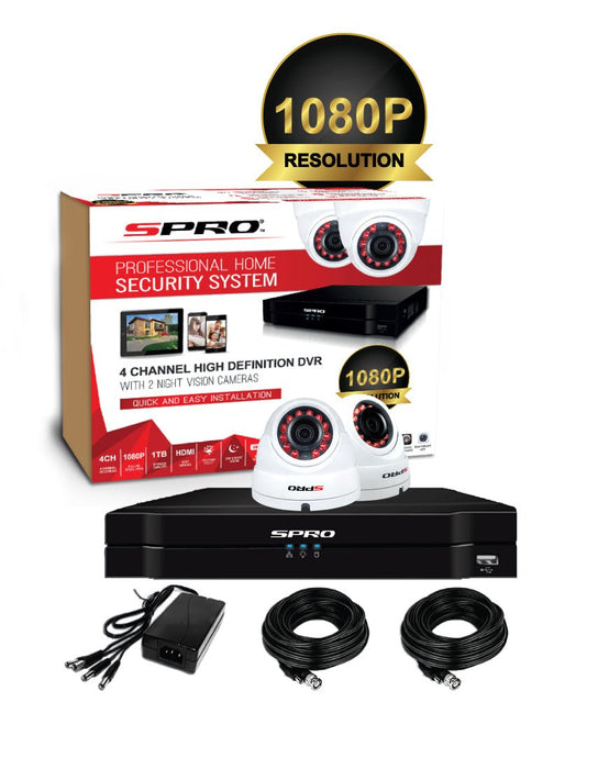 SPRO 4 Channel 1080P 5MP DVR Kit (inc 2 x 2MP cameras)
