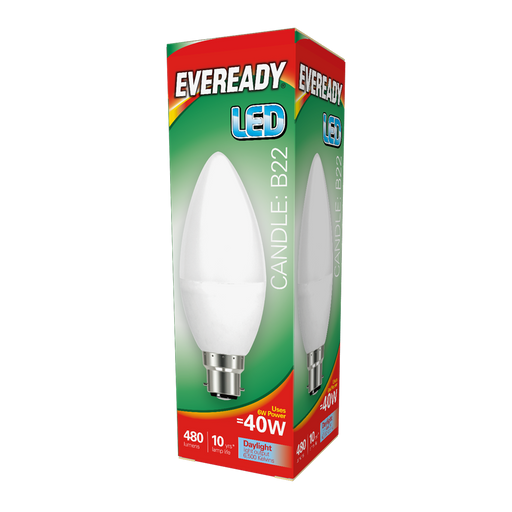 Eveready 6W LED Candle 480Lm Opal B22 Daylight Boxed S13611 | West Midland Electrics