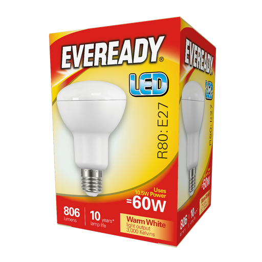 Eveready 10.5W LED R80 806Lm E27 Warm White Boxed S13633 | West Midland Electrics