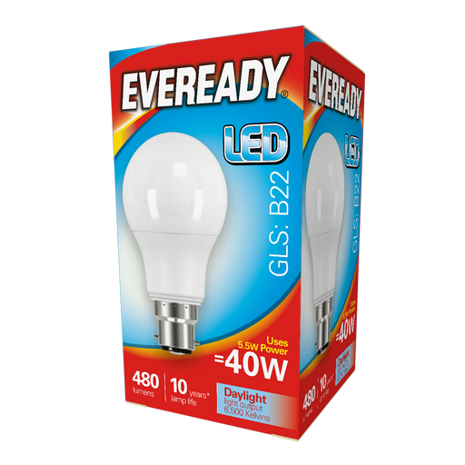Eveready LED GLS 5.5W 480Lm B22 Daylight Boxed S13619 | West Midland Electrics