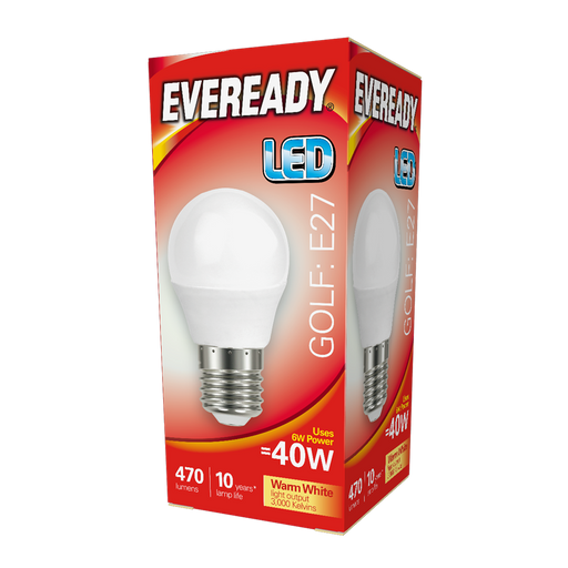 Eveready 6W LED Golf 470Lm Opal E27 Warm White Boxed S13606 | West Midland Electrics